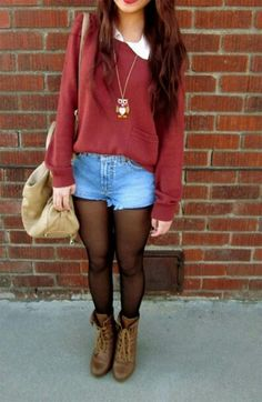 Burgandy sweater and owl necklace