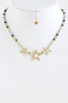 """Starfish Collar Necklace With Gold Accent - Starfish Gold And Multi Color Bead Necklace StarShine Jewelry. $14.00. Lobster claw clasp with 3"""" extender. Lead compliant. Length approx15"""". Starfish bead necklace Collar Necklace, Necklace Set, Pearl Necklace, Beaded Necklace, Lobster Claws, Bead Jewellery, Gold Accents, Starfish, Jewelry Sets"""