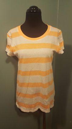 Gap The Essential Crew Bright Orange White Cotton Short Sleeve T Shirt Top XS #GAP #TShirt #CasualSport #daystarfashions $9.99
