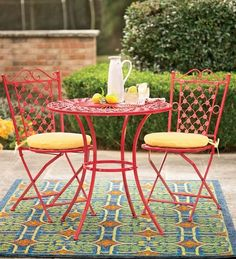 Plow Three-Piece Red Metal Bistro Set Housewarming Gifts from Plow & Hearth on Catalog Spree