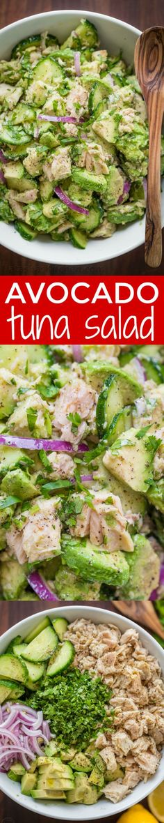 Healthy Avocado Recipes - Avocado Tuna Salad Recipe - Easy Clean Eating Recipes for Breakfast Lunches Dinner and even Desserts - Low Carb Vegetarian Snacks Dip Smothie Ideas and All Sorts of Diets - Get Your Fitness in Order with these awesome Paleo D Easy Clean Eating Recipes, Clean Eating Diet, Easy Salad Recipes, Avocado Recipes, Healthy Eating, Easy Salads, Eating Habits, Recipes For Diabetics Easy, Avocado Ideas