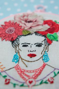 Frida and her Flowers Hoop Embroidery