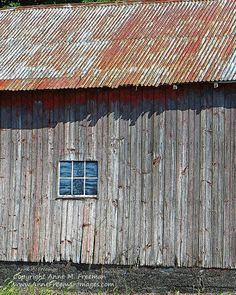 Photo of a rustic old barn with a rusty orange tin roof. The weathered barn siding is gray with knots still holding rusty red paint. Window is painted plywood.  This print is now available on my Etsy shop.  I ship worldwide.  Click on the link below for print details and to order or view more old barn prints. ~ Anne Freeman Images ~ Prints to Make you Smile ~ www.etsy.com/shop/AnneFreemanImages  Barn With Rusty Tin Roof  Old Barn  Rustic by AnneFreemanImages