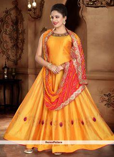 Handwork Silk Yellow Designer Gown Silk Anarkali Suits, Anarkali Gown, Abaya Fashion, Fashion Pants, Readymade Salwar Kameez, Yellow Online, Yellow Fashion, Gowns Online, Online Collections