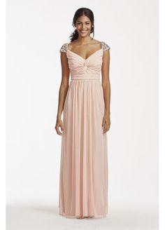 *LIGHT PINK FAVORITE:  Rhinestone Beaded Cap Sleeve Floor Length Dress 8420NS6D