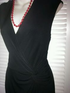 Max and Cleo Black Faux Wrap Dress Size 2 Career Office Dress EUC