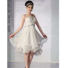 Cute White Chiffon Strapless Short Wedding Prom Cocktail Party Dresses for Women