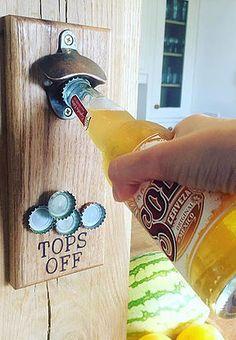 MENS GIFT IDEA solid oak bottle opener with concealed magnet from www.holderandhook.co.uk