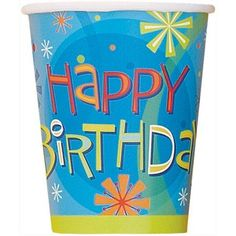 9-Ounce Paper Stellar Birthday Cups, 8-Count, Multicolor