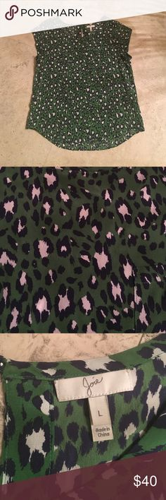 Joie Green Silk Dress Tee Joie Green Silk Dress Tee. In a green, white and navy animal print pattern this dress tee shirt is perfect for work or a night out. In excellent condition. Size large. Made of 100% Silk. Joie Tops Blouses