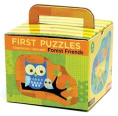 Bright and colorful, this is a wonderful way to introduce your child to jigsaw puzzles. This box holds 16 large pieces which are color-coded to form 4 different shaped puzzles.    Winner of the iParenting Best Products Award 2006!    Includes 4 color coded pieces per puzzle (4 puzzles total). Printed with nontoxic inks on recycled paper. For ages 2 and up.