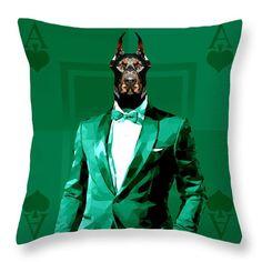 Royal Doberman Throw Pillow Custom Green Pillow Covers by Filip Aleksandrov