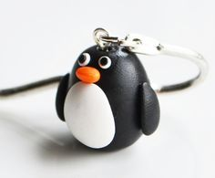 Pinguin Lesezeichen, Fimo, Polymer Clay