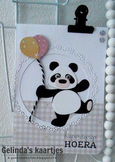 card panda bear Marianne design die panda bear COL1409 balloon balloons Gelinda's kaartjes: Pandabeer #2