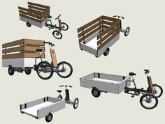 A practical solution for transporting large amounts of goods in a low cost and zero-emission fashion. This quadricycle is assisted by an on board electric motor. Bike Cargo Trailer, Cargo Trailers, Electric Cargo Bike, Electric Motor, Bike Cart, Velo Cargo, Lowrider Bicycle, Tricycle Bike, Custom Trailers
