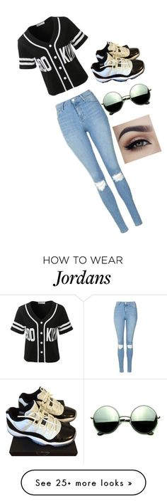 """# How to wear Jordans"" by k2005walker on Polyvore featuring LE3NO, Topshop, NIKE and Revo"