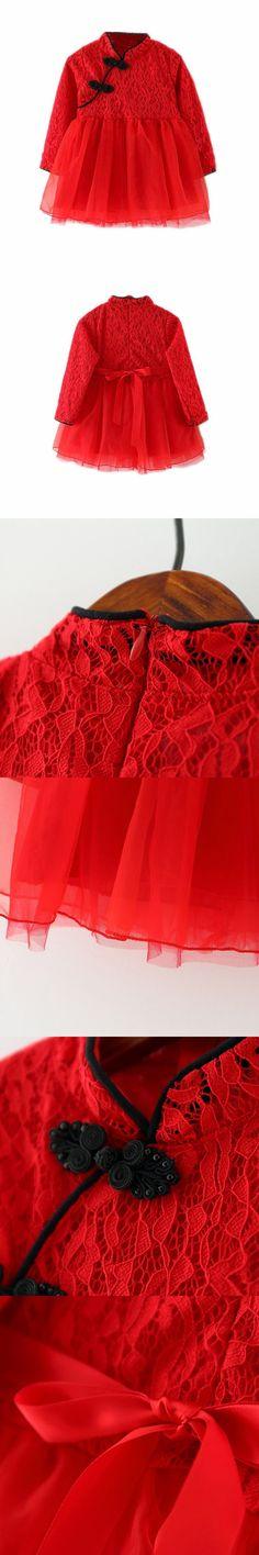 Classic Girl Kid Baby Red Cheongsam Dress Chinese Qipao Clothes Classic Kid Baby Girl Chinese Cheongsam Dress $8.6