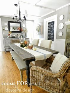 farmhouse table, painted furniture, textured chairs, ironstone, chalkboard door