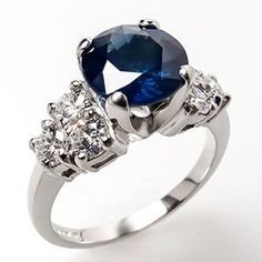 2 Carat Round Sapphire & Diamond Engagement Ring Platinum