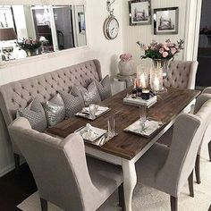 Simple Tips and Tricks: Max Studio Home Wall Decor Dry Erase Board round feather wall decor. Shabby Chic Dining Room, Dining Room Table Decor, Dining Room Sets, Dining Room Design, Dining Room Furniture, Dining Room With Bench, Home Wall Decor, Decor Room, Living Room Decor