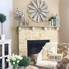 5 Trusting Clever Hacks: Living Room Remodel With Fireplace Painted Bricks living room remodel on a budget window treatments.Living Room Remodel With Fireplace Layout living room remodel with fireplace spaces. Farmhouse Fireplace Mantels, Farmhouse Decor, Modern Farmhouse, Fireplace Mantle, Farmhouse Style, Farmhouse Ideas, Rustic Mantle, Brick Fireplaces, Cottage Fireplace