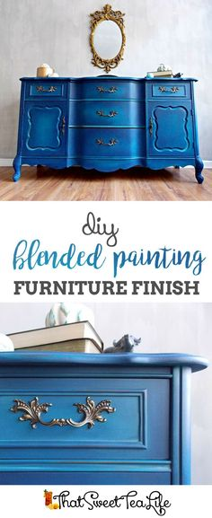 DIY Blending Painting Furniture Finish by That Sweet Tea Life | Shaded Furniture| How to create a blended Paint Furniture Finish | Blended Painted Furniture Ideas | Furniture Painting Tips | How to paint Furniture | Blending Blue Furniture Makeover | Layered Paint | Blended Painting | Dresser Makeover | Furniture DIY