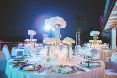 Hydrogenia white table luxury decoration  photo: Nora Mancini  Wedding planner: Weddings in Split