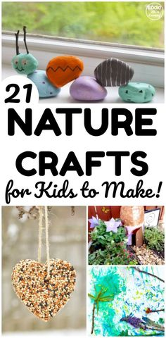 Head outdoors and gather up natural materials to make these 21 fun nature crafts for kids! Great for crafting over the summer!