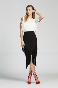 NEW SOUL TOP, TO NOWHERE FRINGED SKIRT