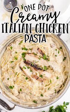 Grilled Chicken Strips, Pre Cooked Chicken, How To Cook Chicken, Chicken Parmesan Pasta, Chicken Pasta Recipes, Creamy Italian Chicken, Bacon Pasta, Creamy Pasta, Italian Dishes