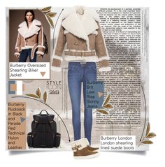"""""""Burberry by sasoza"""" by sasooza ❤ liked on Polyvore featuring Burberry, TIBI, outfit, outfitoftheday, FashionBook, denim, fur, inspo, styleicon and GetTheLook"""