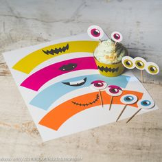 INSTANT DOWNLOAD birthday cupcake topper monster face kit print at home alien monster party eyes and