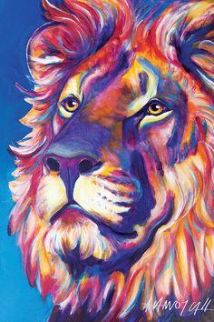 Rainbow Cecil the Lion Animal Art Print DawgArt by dawgpainter Lion Painting, Painting Prints, Art Prints, Artist Canvas, Canvas Art, Canvas Prints, Canvas Size, Africa Silhouette, Zoo Art