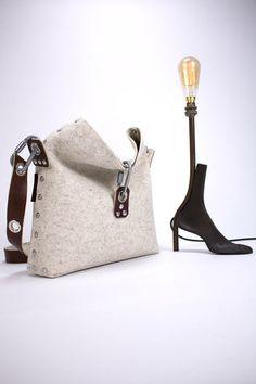 Sac à main en feutre avec pli sur dessus, sac en feutre, femme sac à main, pochette en feutrine sac, sac à main de femme, cadeau pour elle.