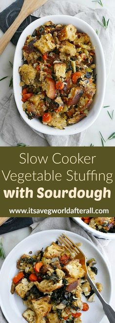 Slow Cooker Vegetable Stuffing with Sourdough - roughly torn, day-old sourdough bread cubes taste delicious with savory veggies and seasonings. Save oven space and time with this amazing, veggie-loaded stuffing! Crockpot Stuffing, Stuffing Recipes, Side Dishes Easy, Vegetable Side Dishes, Thanksgiving Vegetables, Easy Toddler Meals, Healthy Vegetable Recipes, Sourdough Bread, Savoury Dishes