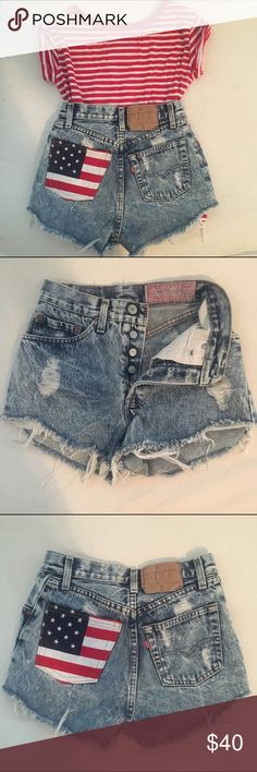High Waisted Levi's Really cute high waisted Levis shorts. Perfect for the Fourth of July. In great condition. Size 24. Levi's Shorts Jean Shorts