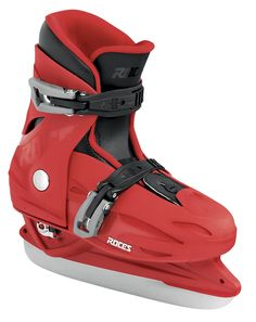 """MCK II H • Nylon shell and cuff • Two micro-adjustable memory buckles closure system • """"Growth compensator"""" shell and liner • Removable anatomic thermal-insulation liner • Carbon steel hockey blade Visit shop.roces.com for more products and informations"""