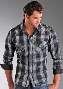 Rock & Roll Cowboy Men's Tie-Dye Poplin Plaid Western Snap Shirt - Black