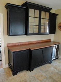 Family Room Beverage Center. Easy to do with stock cabinets.