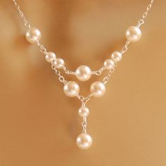 Delicate Pearl Necklace Bridal Necklace Maid by herecomesthebride, $38.00