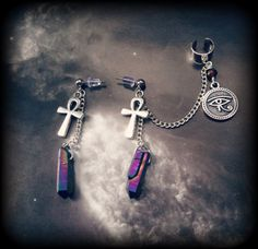 Eye of Horus Ear Cuff with Ankh Earrings and Rainbow Crystals