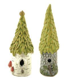 Love this Miniature Tree Trunk Bird House Figurine Set on #zulily! #zulilyfinds