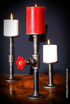 Industrial Pipe standing Candle holder with Red by AuJo29studios, $49.90