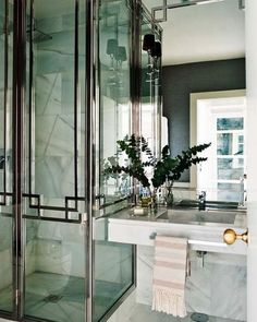 art deco interior design | Art Deco Home Interior Design Ideas With Black And White | - Love the chrome accents on shower door and mirror