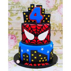 Spiderman Cake Ideas for Little Super Heroes - Novelty Birthday Cakes Spiderman Cake Topper, Spiderman Birthday Cake, Batman Cakes, 4th Birthday, Birthday Parties, Superhero Theme Party, Novelty Birthday Cakes, Birthday Party Decorations, Man Party