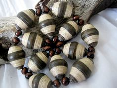Items similar to Hand Painted Art Paper Bead Pendant Necklace in Brown Stripes on Etsy