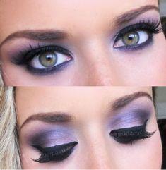 Great purple smokey eye with false eyelashes!