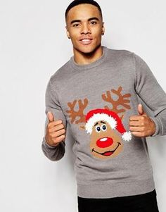 New Look Christmas Reindeer Jumper Pull De Noel Homme 114fc53a8