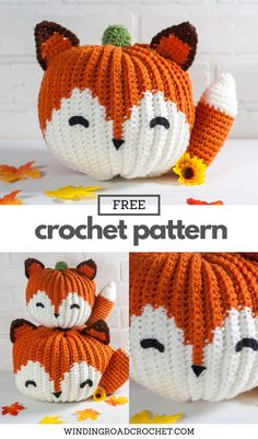 Crochet Fox, Free Crochet, Crochet Patterns Amigurumi, Crochet Crafts, Yarn Crafts, Fabric Crafts, Diy Crafts, Crochet Pumpkin Pattern, Autumn Crochet