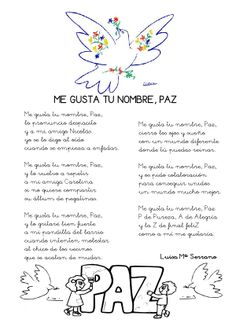Paz_poema-Luisa_ciclo1_ilustrado Spanish Teacher, Spanish Classroom, Teaching Spanish, Ap Spanish, Spanish Lessons, Peace Crafts, Make Peace, Religious Education, Dual Language